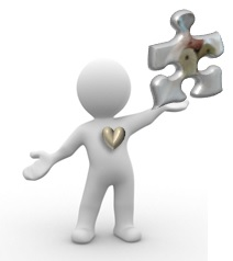Virtual Assistant to Tina Cornish for thrive in a new vibe with puzzle piece and heart